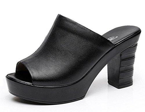Easemax Femme Mode Peep Toe Talon Haut Bloc Mules Noir