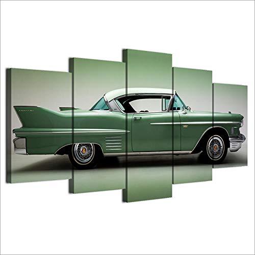 Gusbby stampe e quadri su tela quadri su tela stampe per complementi arredo casa soggiorno poster 5 pezzi dipinti di auto d'epoca classica convertibile verde wall art