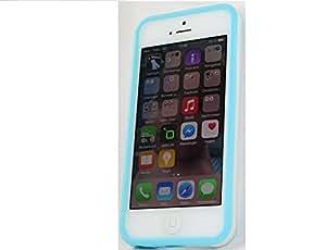 steve-tronik®Bumper Silikon Schutzhülle für Apple iPhone 5 und 5S türkis-weiß