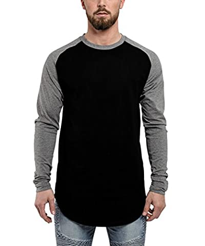 Phoenix Oversized Longline Baseball Longsleeve Long T-Shirt Noir Gris Hommes Manche Longues Chemise - M