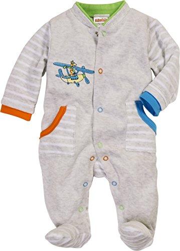 Schnizler Baby-Jungen Schlafstrampler Schlafoverall Nicki Ringel Flugzeug, Oeko-Tex Standard 100, Grau (Grau/Melange 37), 74