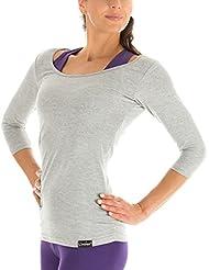 Yoga Pilates Fitness para mujer Winshape 3/4-Arm camiseta WS4 Gris Gris Talla:small