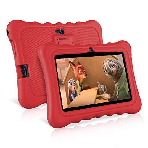 Ainol Q88-(tablet para niños con wifi de 7 pulgadas,Tablet infantil de Android 7.1, regalo para niños,Quad Core 1GB+8GB,Soporta Tarjeta TF 64GB,doble cámara,juegos educativos) Rojo