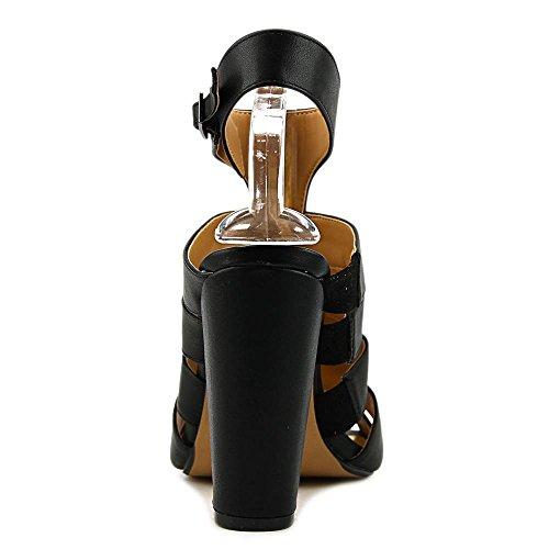 Thalia Sodi Ebbony Large Cuir Sandales Black