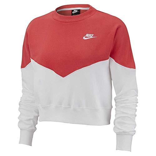 Nike Damen W NSW HRTG Crew FLC Long Sleeved T-Shirt, Weiß (White/Ember Glow), S
