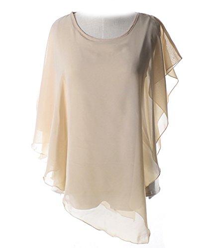 Cheerlife Damenbluse Chiffonbluse Sommer Damen Kurzarm-T-Shirt Volants Schläger-Hemd Tunika Oberteile Nackt Farbe