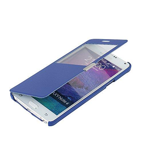 MTRONX para Funda Samsung Galaxy Note 4, Cover Carcasa Case Caso Ventana Vista Folio Flip Tela Asargada PU Cuero Delgado Piel con Cierre Magnetico para Samsung Galaxy Note 4 - Azul(MG1-BU)