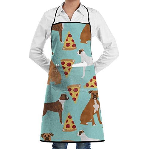 Dog Pizza Kostüm - Drempad Premium Unisex Schürzen, Boxer Dog Pizza Retro Aprons Kitchen Chef Bib - Professional for BBQ Baking Cooking for Men Women