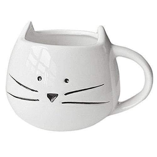 TOOGOO(R)Tasse de cafe Tasse de lait d'animal de chat noir Tasse de ceramique d'amant Cadeau d'anniversaire mignon, cadeau de Noel (blanc)