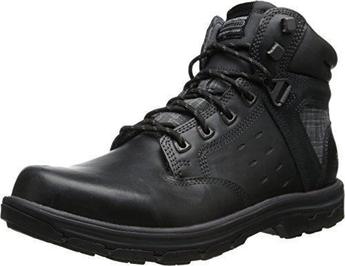 Skechers USA Men's Segment Gundy Boot,Black Leather,9 M US