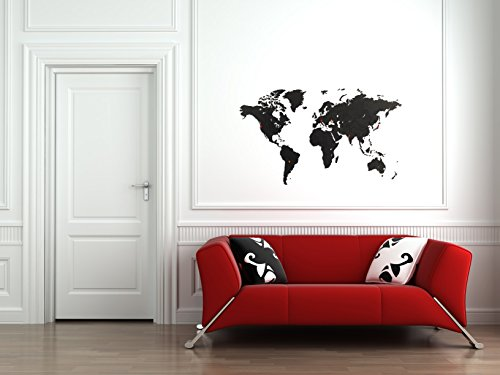 MiMi - Luxury Weltkarte Puzzle Wand - Hochwertig Holz Weltkarte - Wandbilder / Wandsticker - 100 x 60 cm - Schwarz