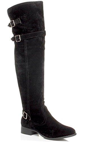 Donna tacco basso stivali cavallerizzo metà coscia sopra ginocchio taglia 8 41