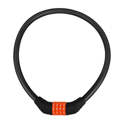 Autofy Heavy Duty Semi-Transparent 4 Digit Number Lock Helmet Lock Multipurpose Lock Bike Lock Combination Lock Number Lock (Black and Orange)