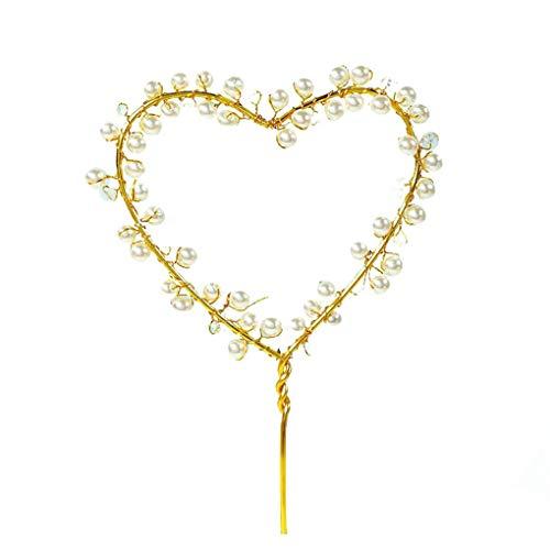 Busirde Herz-Korn-Alles Gute zum Geburtstag Kuchen-Deckel Metalleinsatz Kuchen-Karte Hochzeit Cupcake Smash Candle Stick Gold 10 * 18cm (18 Geburtstag-kuchen-deckel)
