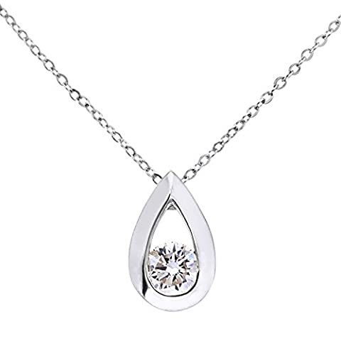 Naava Women's 9 ct White Gold Quarter Carat Diamond Teardrop Pendant and Chain of 46 cm