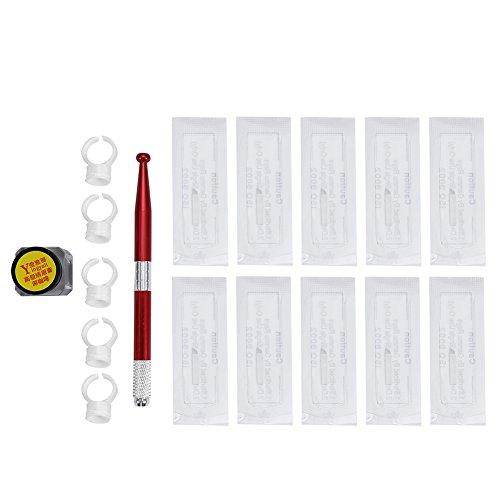 Permanent Cejas tatuaje conjunto práctico microblading tatuaje práctica pluma aguja + aguja + Pigment de cejas + anillos de Pigment