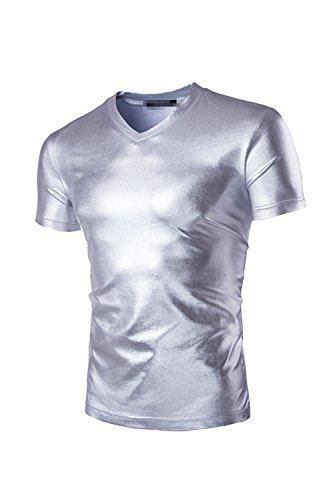 ge T-Shirt Kurze Ärmel Slim Tees Silver S (90 S Themen Kostüme Männer)