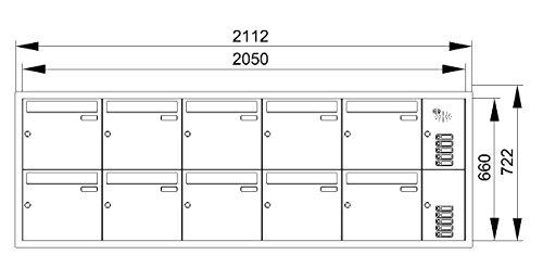 Briefkastenanlage Unterputz aus Edelstahl – 10fach - 2