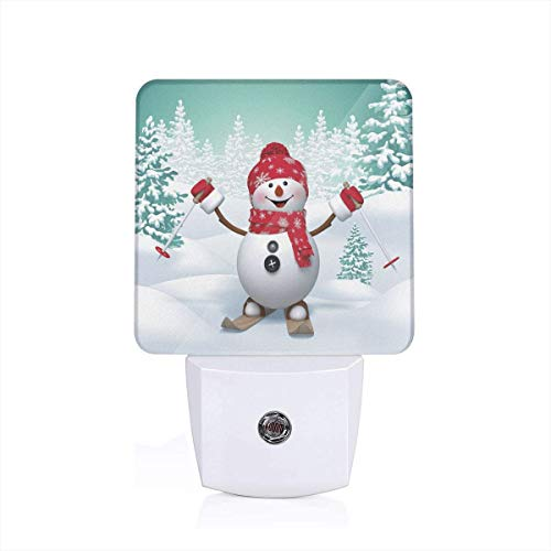 Snow Covered Mountain With Fir Trees And Skiing Snowman Fun Holiday Activity Plug-in LED Night Light Lamp with Dusk to Dawn Sensor, Night Home Decor Bed Lamp