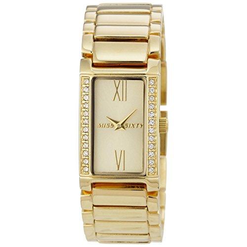 Miss Sixty Women's Jet Set M60 Orol Gold-Tone Steel Bracelet & Case Quartz Analog Watch SZ4003