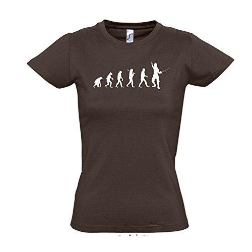 Damen T-Shirt - EVOLUTION - Fechten Sport FUN KULT SHIRT S-XXL Chocolate - weiß