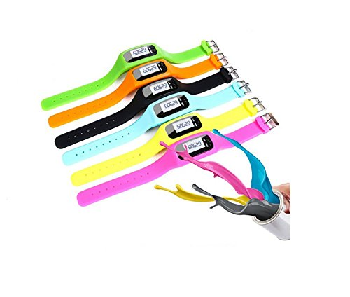 Gold butterfly@ Silicone Wristband Sports Bracelet Pedometer Watch Smart Bracelet Running Companion Blue/Black/Orange/Green/Pink/Rose Red
