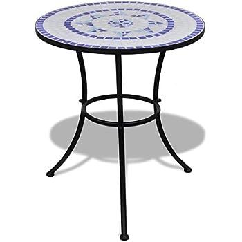 Tavolo Rotondo Giardino Arredo Giardino tidyard Tavolo con Mosaico 60 cm Nero//Bianco