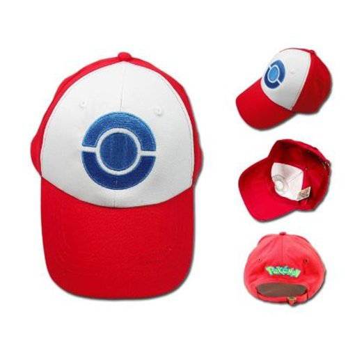 hum Game Cosplay Costume Pokemon Hat Cap in Red with Blue (Ash Ketchum Cosplay)