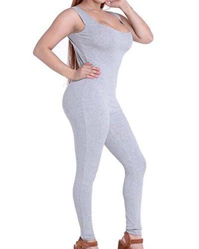 Auxo 10 Couleurs Femme Sexy Dos Nu Sans Manches Débardeur Serré Sports Clubwears Combinaisons Gris