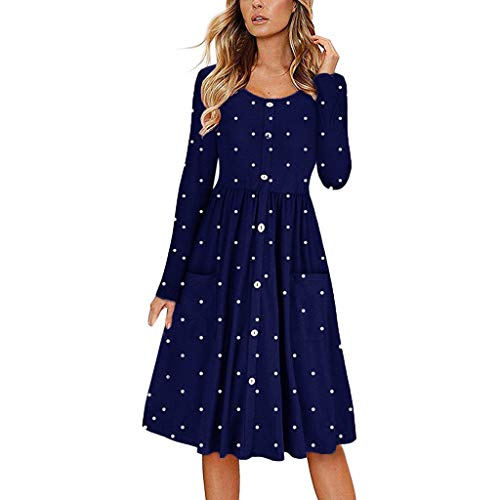 CUTUDE Damen Kleider Punkt Drucken Langarm Tasche Frauen Kleid Lange Maxi Kleid Mode 2019 Partykleid Beiläufig Strandkleid