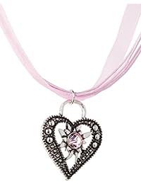Trachtenkette Wiesnstein eleganter Herz Anhänger mit Strass - Trachtenschmuck Kette für Dirndl und Lederhose
