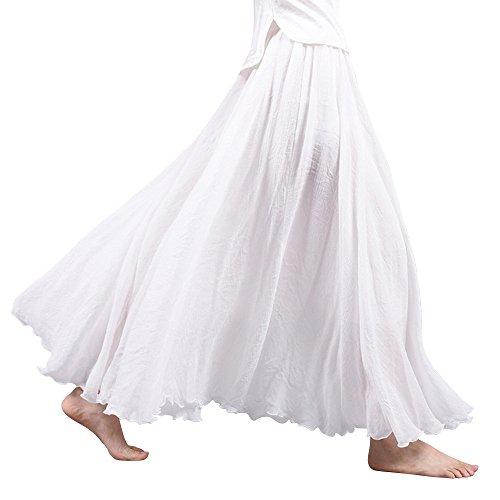 OCHENTA - Donne in Stile Bohemian Elastica Band Cotton Lino Lungo Maxi Gonna, Bianco, 90 cm