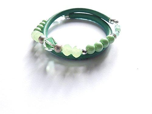Dal Chiemsee - Atelier Patricia RE: Donna pelle Nappa il braccialetto dell''involucro, Stretch Bracciale, Swarovski Elements -, Boemo similperle, edizione limitata! - colore verde menta