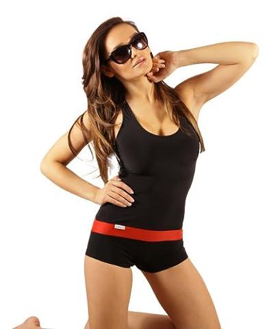 Damen Badeanzug mit Bein Schwimmanzug Hotpants mit Schwimmerrücken SK0021 (36, Rot)