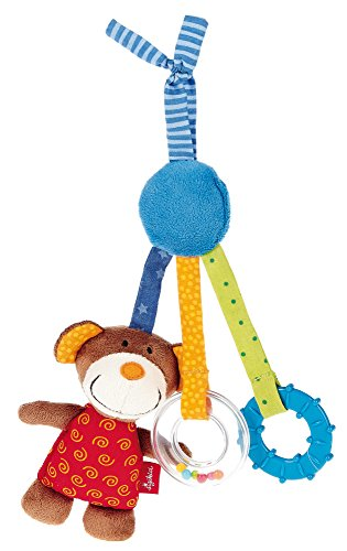 sigikid, Jungen und Mädchen, Aktiv-Anhänger Bär mit Beißring und Quietschkissen, Rot/Blau/Braun, - Autositz Spielzeug Mädchen