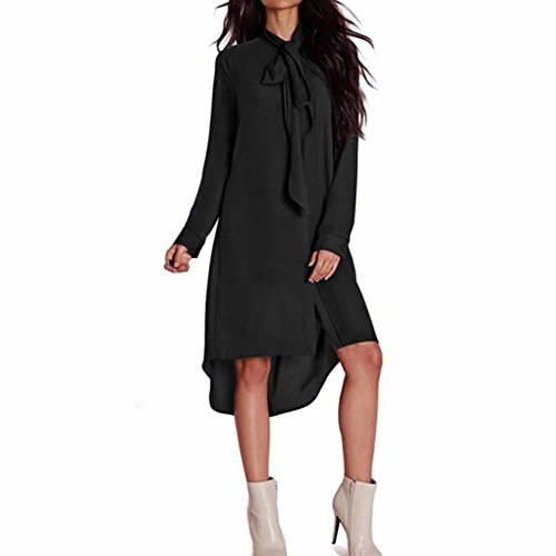 Damen Hemdkleid FORH Frauen Casual Loose Langarm Chiffon Kleider Cute bow-knot Fliege Shirt Blusenkleid Elegant Einfarbig V-Ausschnitt Tunika Minikleid Tops (Schwarz, XL)