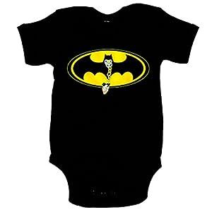 Body-beb-Batman-murcilago-logo-con-chupete-Negro-12-18-meses