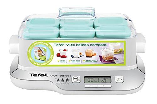 Tefal YG657120 YG6571-Multi Delices Joghurtbereiter, Roboter für Desserts, Joghurt und Frischkäse, kühl- und spülmaschinenfeste Gläser, LCD-Display, 2000 W, Kunststoff, Schwarz, Silber, Transparent