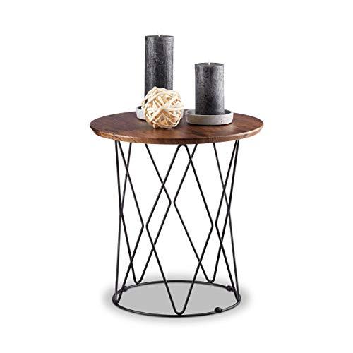 Relaxdays Beistelltisch Natur, rund, Holz Tischplatte, Metall Drahtkorb, Design Couchtisch, H x Ø: 42 x 40 cm, Vintage, Standard -