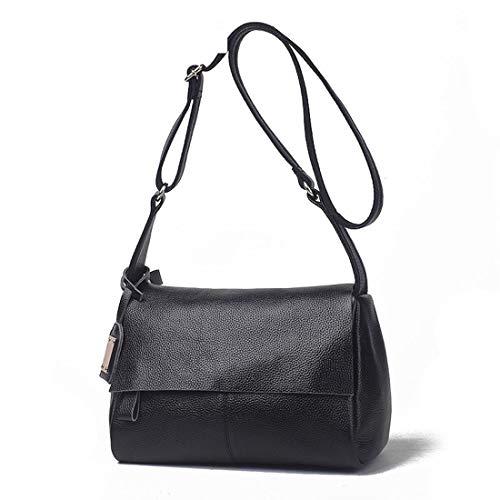 Uzanesx Echtes Leder Crossbody Tasche Geldbörse für Frauen Box Umhängetasche Vintage Satchal Wallet (Color : Black) -