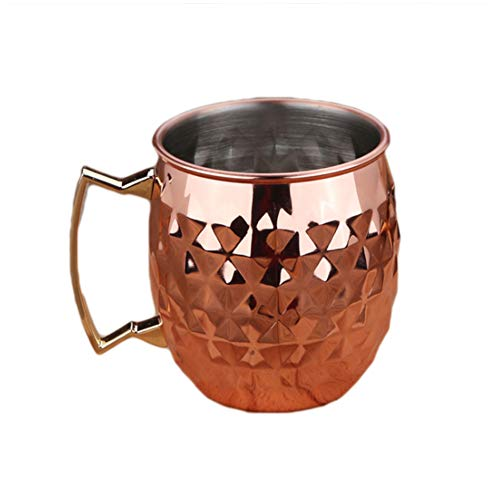 tianxiangjjeu 550 ml Edelstahl Teetasse Ananas-Design langlebig Kaffee Milch Wein Glas rose gold (Rose Gläser Gold Wein)