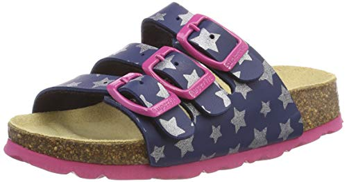 Superfit Mädchen Fussbettpantoffel Pantoffeln, Blau (Blau 84), 35 EU