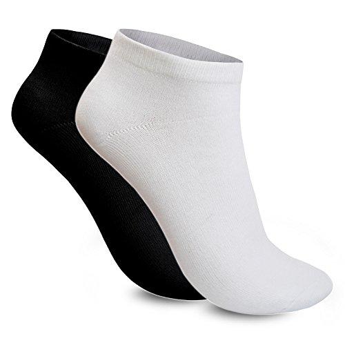 1 bis 10 Paar Socken Sneaker Füßlinge Kurzsocken Sport Damen Herren Schwarz Weiß 39-42 Weiss 10 Paar