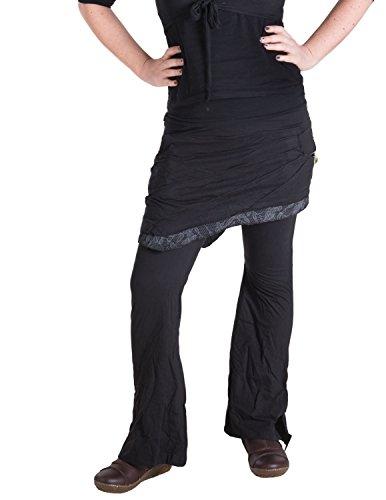 Vishes - Alternative Bekleidung - Hippie Schlag Hose mit asymmetrischem Patchwork Rock Schwarz