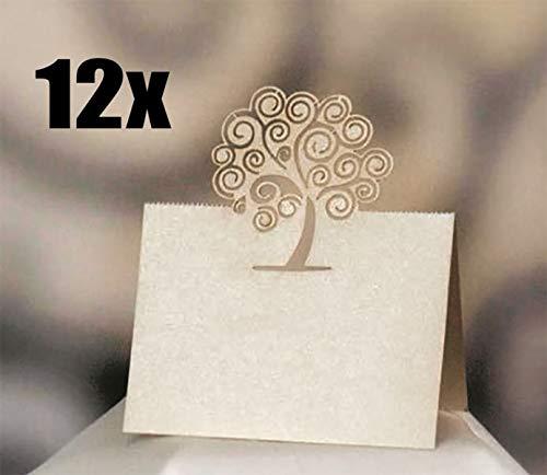 12 PZ Bigliettino Carta con albero della vita segnaposto tavolo matrimonio