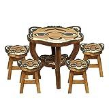 Oriental Galerie Kinder Sitzgruppe Tische und Stühle 5er Set Tischgruppe Massiv Robust Tiger Nr. 2 Motiv Holz Braun