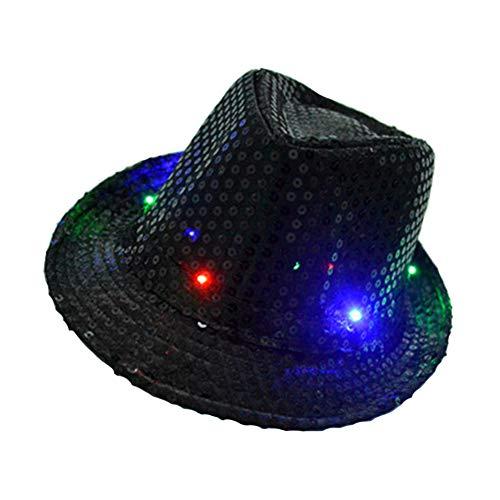 Kostüm Disco Party Dance - LED Jazz Hut, Unisex Erwachsene Glitter Pailletten Jazz Hut Led Leuchten Fedora Blinkende Hüte Kostüm Party Cap Disco Hüte für Halloween Dance Party