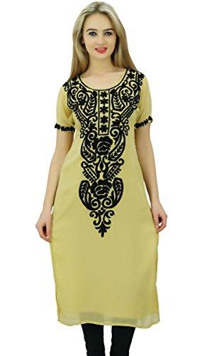 Bimba Frauen Georgette Designer Kurtis Tunika Top indischen gerade Bluse bestickt (Georgette-tunika)