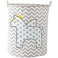 SFGHOUSE - Cesto de colada, grande, dibujos animados, plegable, ropa sucia de hogar, con asas, cesto para colada, juguetes, organizador, ropa, contenedor, diseño de caballo