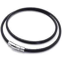 Collar - SODIAL(R) Collar de hombres mujeres de joyeria, Collar cuerda cadena coraza de cuero trenzado de cierre de acero inoxidable, Negro ¨C ancho 4 mm - longitud 50 cm